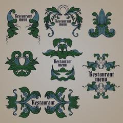 Vector illustration of floral labels, plant ornament elements