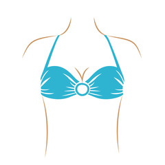 thin contour of woman with light blue swimwear bra with central ring vector illustration