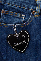 Love Denim - heart shape blackboard on blue denim