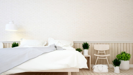 Bedroom and living area brick wall in apartment or hotel - 3d Rendering