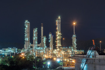Night time refinery at Sri Racha Thailand