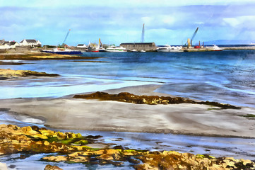 Colorful painting of Killeany bay