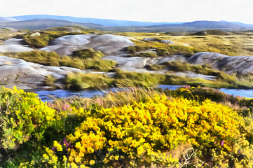 Colorful painting landscape near Cnoc Mordain and Loughannilaun lake