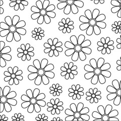 silhouette sketch decorative pattern flowers design vector illustration