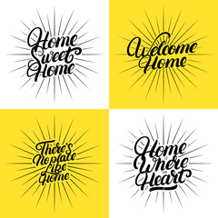 Set of hand written lettering quotes for home.