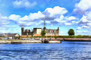 Colorful painting of Kronborg palace