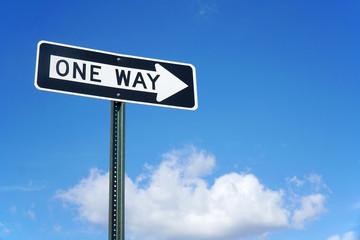one way sign in front of blue sky and white cloud