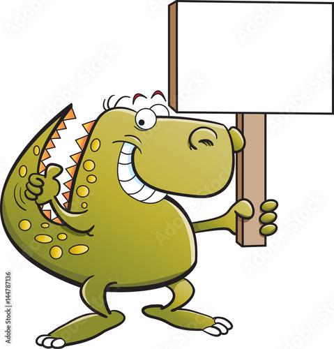Cartoon illustration of a dinosaur holding a sign.