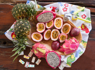 exotic fruits of Thailand, bright, delicious, passion fruit, dragon eye, pineapple, table decoration fruit