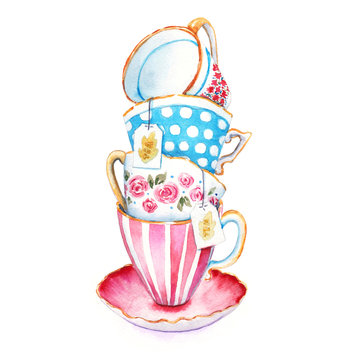 Bunch teacups. Watercolor painting tea cups to design menus or postcards, Closeup. Illustrations in the style of the country isolated on white background. Hand drawn sketch.