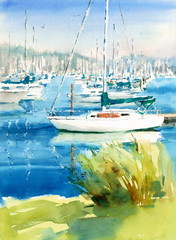 Watercolor White Sailing Boat in the Dock Hand Painted Nautical Illustration