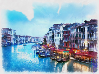 Colorful painting of the Grand Canal from Rialto Bridge