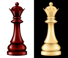 Wooden chess piece Queen, two versions - white and black. Vector illustration.