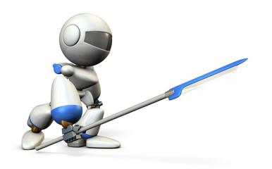 ヤリを構える戦闘ロボット