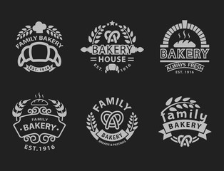 Bakery badge icon fashion modern style black white wheat vector food label design element isolated.