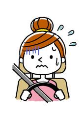 運転する女性:怖い、初心者、あわてる