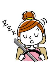 運転する女性:居眠り運転