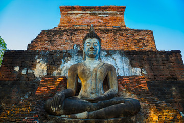 Wat Mahathat Temple in the precinct of Sukhothai Historical Park, a UNESCO world heritage site, Thailand