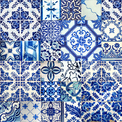 Collage of ceramic tiles from Portugal
