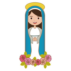 white background of pretty christian virgin and ornament of pink roses vector illustration