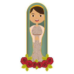 white background of beautiful virgin with ornament of roses vector illustration