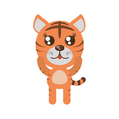 kawaii tiger animal toy vector illustration eps 10
