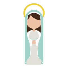 white background of faceless virgin with light blue mantle and aura vector illustration