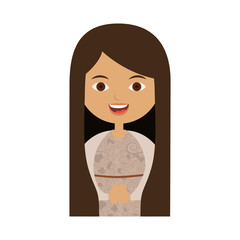 white background of half body beautiful virgin with long hair vector illustration