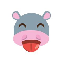 cute face hippo animal cheerful vector ilustration eps 10