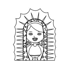 monochrome contour of half canvas of virgin of guadalupe vector illustration