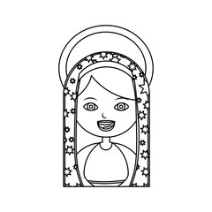 monochrome contour of half body virgin of guadalupe with aura vector illustration