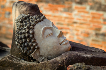 Ruin of Image Buddha at Phutthaisawan Temple in Ayutthaya Historical Park, UNESCO World Heritage Site in Thailand