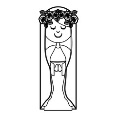 monochrome contour of virgin with crown of roses vector illustration