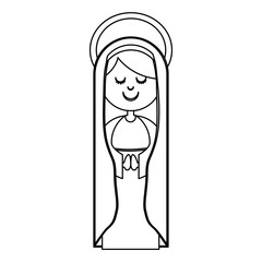 monochrome contour of virgin with mantle and aura vector illustration