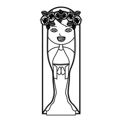 monochrome contour of beautiful virgin with crown of roses vector illustration