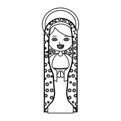 monochrome contour of beautiful virgin of guadalupe with aura vector illustration