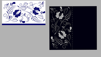 floral pattern in Gzhel style with blue ornamental flowers. Blue and white background. Floral design. Gzhel flowers. Russian ornament. Vector illustration