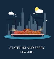 Staten Island Ferry.Vector Illustration.