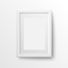 A3 and A4 vertical blank picture frame with passepartout for photographs. Vector realistic paper or Matte plastic white with shadow. Isolated picture frame mockup template on white background