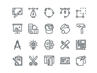 Design and Development. Set of outline vector icons. Includes such as Brainstorming, Retouching, Programming and other. Editable Stroke. 48x48 Pixel Perfect.