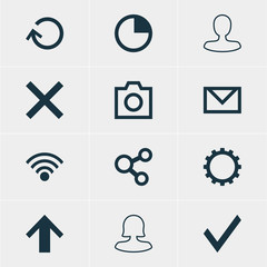 Vector Illustration Of 12 Interface Icons. Editable Pack Of Check, Renovate, Wrong And Other Elements.