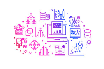 Data analysis gradient line icons illustration