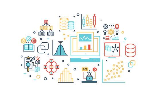 Data analysis line icons illustration