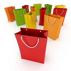 Shopping bags in colors