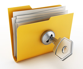 Key on locked yellow folder. 3D illustration