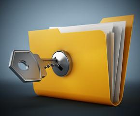 Key on locked yellow folder. 3D illustration