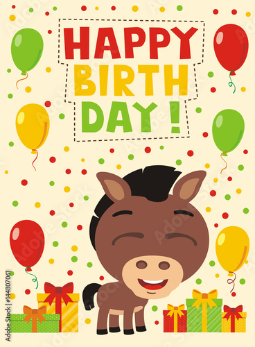 Happy Birthday Funny Deer With Gifts And Balloons Card In Cartoon Style For Child Stock Image Royalty Free Vector Files On