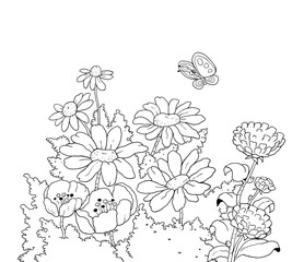 Beautiful flowers. Fairy tale. Coloring page. Illustration for children. Funny cartoon characters