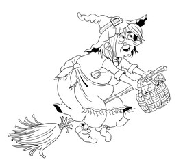 A cute witch flying on the broomstick.  Fairy tale. Coloring page. Illustration for children. Funny cartoon characters