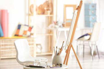 Workplace of artist in modern studio